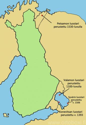 Luostarien sijainnit kartta väri