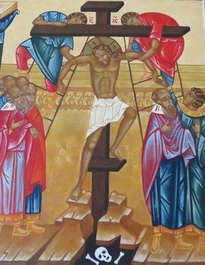 kristusta nostetaan ristille